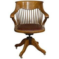 Edwardian Oak Swivel Chair