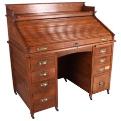 Edwardian Oak Tambour Desk, circa 1910