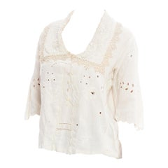 Edwardian Off White Hand Woven Linen Embroidered Blouse With Mother-Of-Pearl Bu