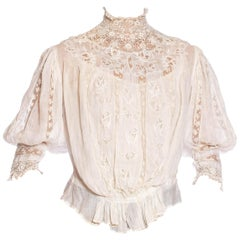 Edwardian Off White Haute Couture Organic Cotton Voile Blouse With Exceptional H