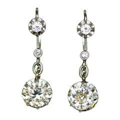 Edwardian Old Cut Diamond Drop Earrings