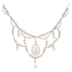 Edwardian Old Cut Diamond Filigree Necklace Set in Platinum