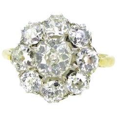 Edwardian Old Cut Diamonds Rose Yellow Gold Platinum Cluster Daisy Ring