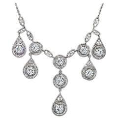Edwardian Old Euro Diamond Platinum Necklace