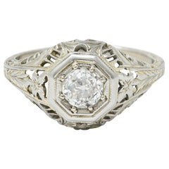 Edwardian Old European Cut Diamond 18 Karat White Gold Engagement Ring