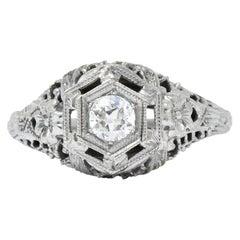 Edwardian Old European Cut Diamond 18 Karat White Gold Engagement Ring