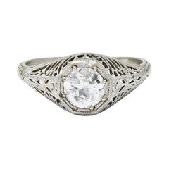 Edwardian Old European Cut Diamond 19 Karat White Gold Engagement Ring GIA