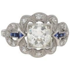 Edwardian Old European Cut Diamond and Sapphire Engagement Ring Set in Platinum