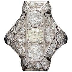 Edwardian Old European Cut Diamond Dinner Ring, circa 1915