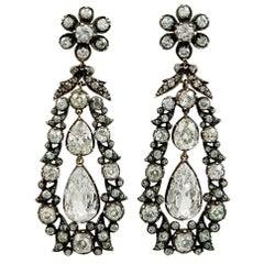 Edwardian Old European-Cut Diamond Drop Earrings