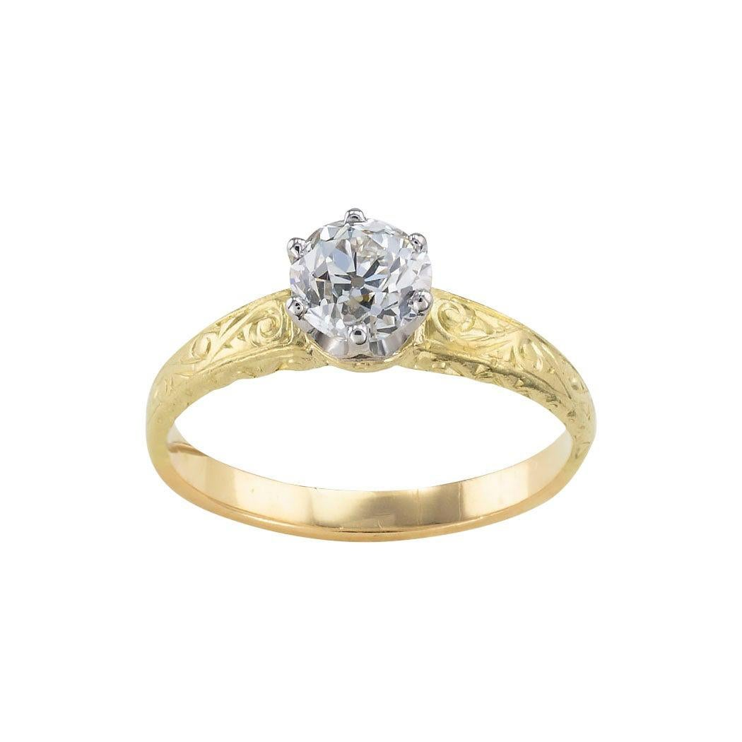 Edwardian Old European Cut Diamond Solitaire Yellow Gold Engagement Ring