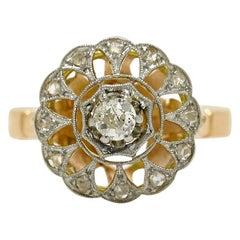 Edwardian Old European Diamond Cluster Platinum 18 Karat Gold Antique Ring