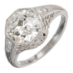 EGL Certified 2.30 Carat Edwardian Old European Diamond Platinum Engagement Ring