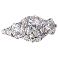 Edwardian Old Mine Cushion Diamond Platinum Engagement Ring