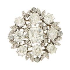 Edwardian Diamond Floral Cluster Brooch Set in Platinum and 18k White Gold