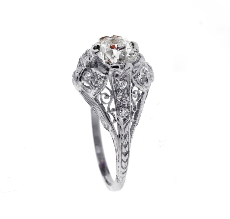 Edwardian Old Mine Cut Diamond Engagement Ring In Good Condition For Sale In Bethesda, MD