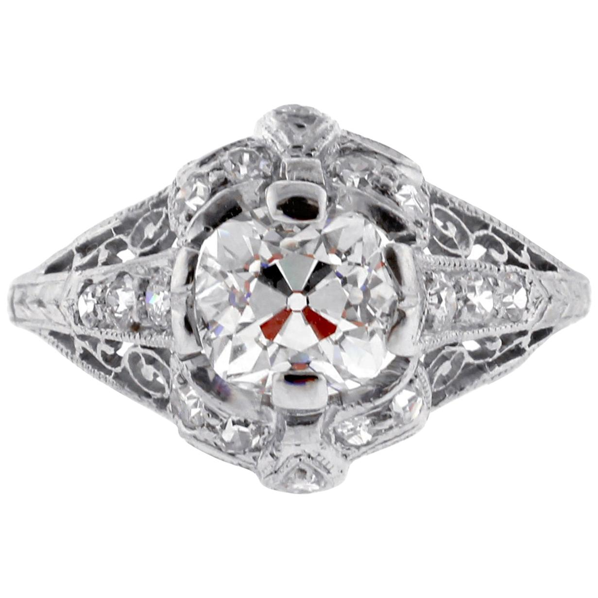 Edwardian Old Mine Cut Diamond Engagement Ring