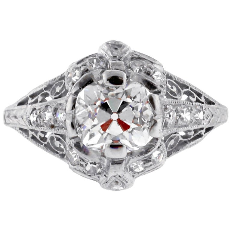 Edwardian Old Mine Cut Diamond Engagement Ring For Sale