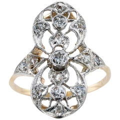 Edwardian Old Mine-Cut Diamond Gold Platinum Ring