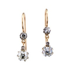 Edwardian Old Mine-Cut Diamond Yellow Gold Drop Earrings