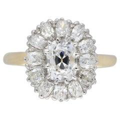 Edwardian Old Mine Diamond Coronet Cluster Ring, circa 1915