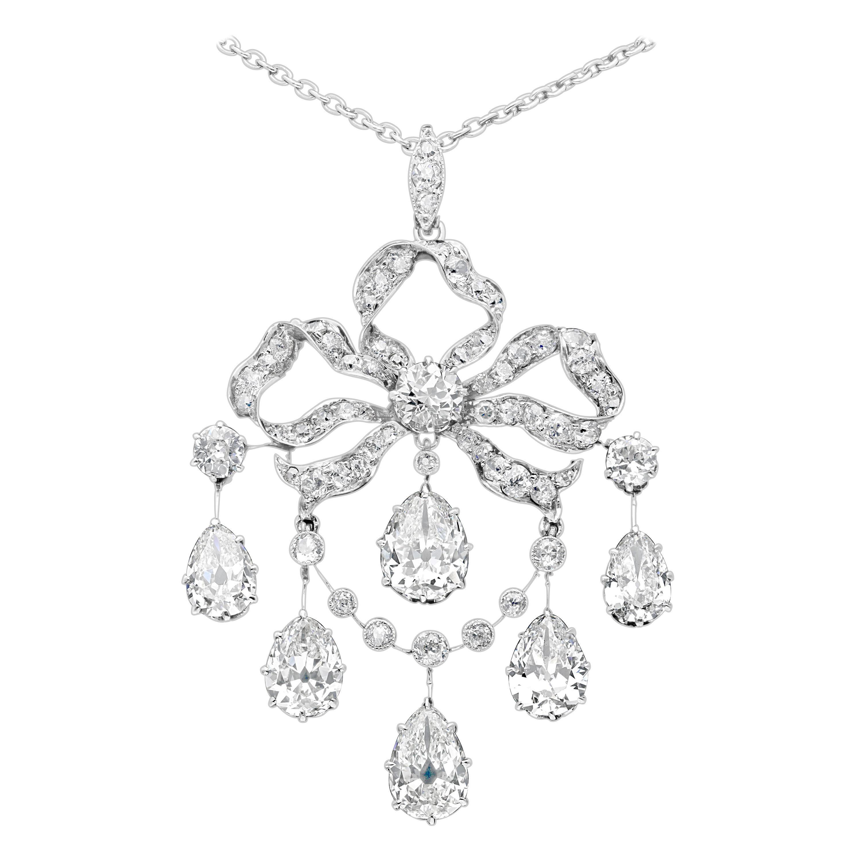 Edwardian Old Mine Diamond Pear Shapes Pendant Ribbon Bow Design, circa 1910