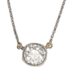 Edwardian One Carat Old Mine Cut Diamond Millegrain Pendant