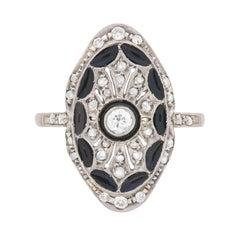 Edwardian Onyx Diamond Dinner Ring, circa 1900s