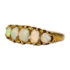 Edwardian Opal and 18 Carat Gold Five-Stone Ring