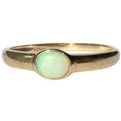 Edwardian Opal and 9 Carat Gold Single Stone Ring