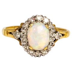 Edwardian Opal and Diamond 18 Carat Gold Cluster Ring