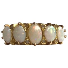 Edwardian Opal and Diamond 18 Carat Gold Five-Stone Ring