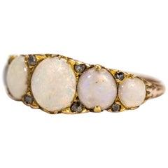 Edwardian Opal and Diamond 9 Carat Gold Five-Stone