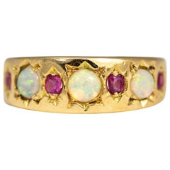Edwardian Opal and Ruby 18 Carat Gold Band