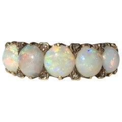 Edwardian Opal, Diamond and 18 Carat Gold Five-Stone Ring
