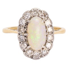 Edwardian Opal Diamond Oval Cluster Ring