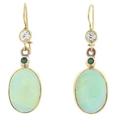 Edwardian Opal, Emerald, and Diamond Dangle Earrings