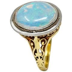 Edwardian Opal Platinum-Topped 15 Karat Gold Statement Ring