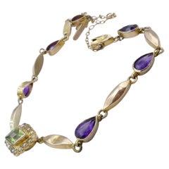 """Edwardian or Vintage Yellow Gold Amethyst, Peridot, Pearl """"Suffragette"""" Bracelet"""