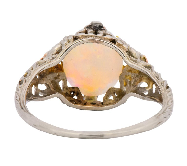 Edwardian Oval Cabochon Opal 14 Karat Tri-Colored Gold Ring In Excellent Condition For Sale In Philadelphia, PA
