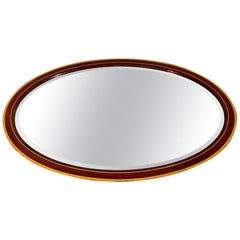 Edwardian Oval Mirror in Mahogany and Satinwood with Original Bevelled Glass