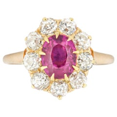 Edwardian Oval Ruby and Diamond Cluster Ring