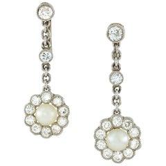 Edwardian Pair of Pearl and Diamond Earrings