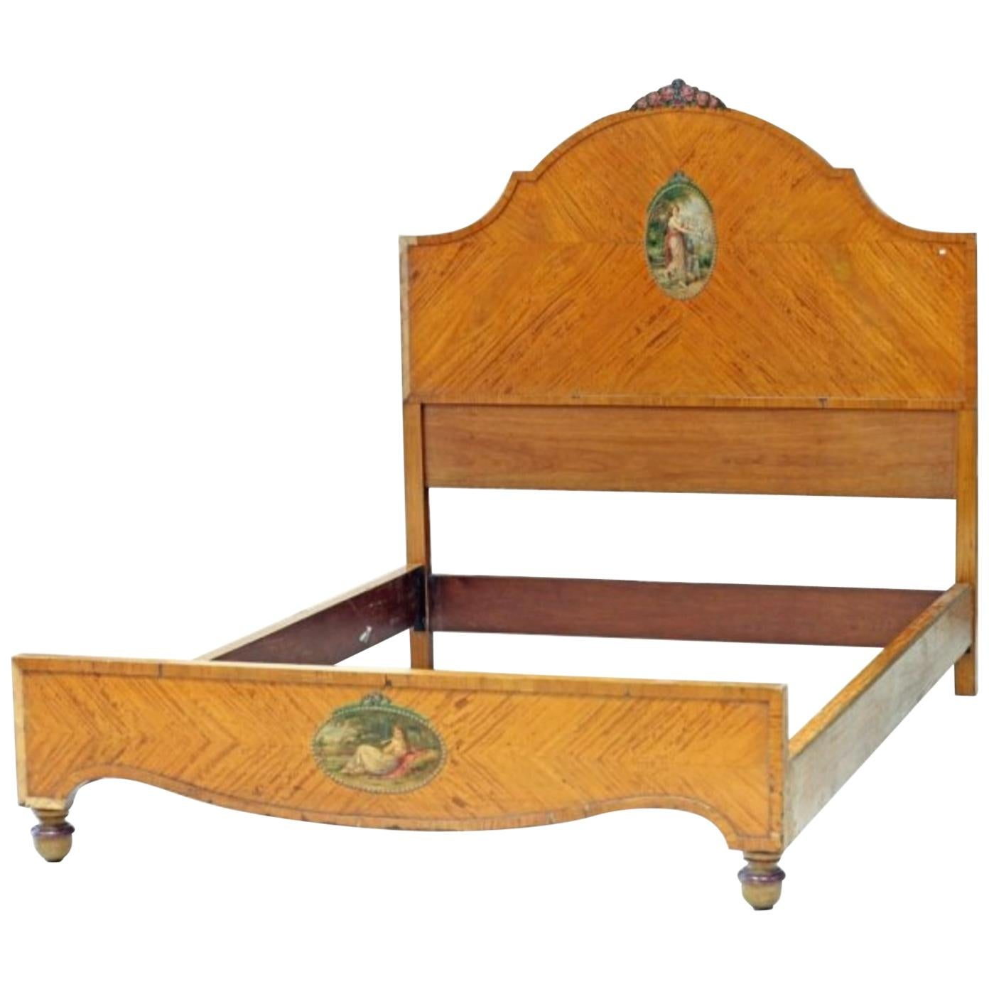 Edwardian Parcel Gilt Satinwood Bed Stand