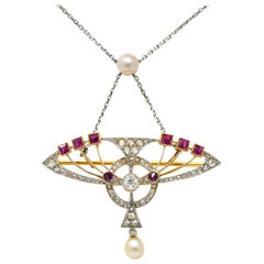 Edwardian Pearl 2.25 Carat Diamond Ruby Platinum-Topped 18 Karat Gold Necklace