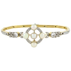 Edwardian Pearl and 0.63 Total Carat Diamond Link Bracelet