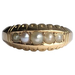 Edwardian Pearl and 15 Carat Gold Five-Stone Band