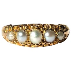 Edwardian Pearl and 15 Carat Gold Five-Stone Ring