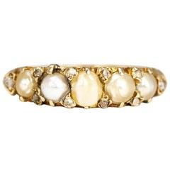 Edwardian Pearl and 18 Carat Gold Half Hoop Ring