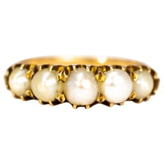 Edwardian Pearl and 9 Carat Gold Five-Stone